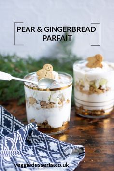 This Pear and Gingerbread Parfait is a quick and easy no bake Christmas treat. The warming spices in the thick yogurt contrast beautifully with the crushed gingerbread cookies. Chopped juicy pear adds a fragrant tasty extra flavour. Vegan Recipes Easy, Great Recipes, Vegetarian Recipes, Cooking Recipes, Delicious Desserts, Yummy Food, Tasty, Importance Of Healthy Eating, Christmas Desserts
