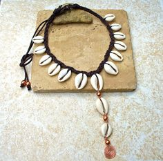 Copper and Cowrie Necklace with Hammered by KipajiPraiseJewelry