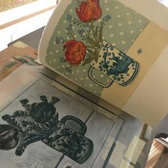 Tulips and Forget-me-nots is a ten colour linocut. The linocut has been hand printed on my Harry F Rochat Albion Press using Saunders Waterford Watercolour Paper and Lawrences Linseed Oil Inks. The linocut is part of a limited edition of 100 The image measures 21 x 21 cm The paper size