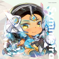 CHIBI SYMMETRA by hecoheio Overwatch Symmetra, Overwatch Drawings, Widowmaker, Overwatch Pictures, Chibi Characters, Fantasy Warrior, Starcraft, Game Character, Kawaii Anime