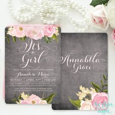 Chalkboard Floral It's a Girl Baby Shower Invitation with Pink Blush Peonies and Roses: Rustic Shabby Chic Flowers Printed