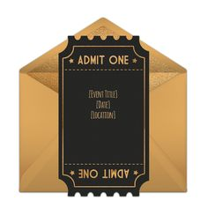 """One of our favorite free award show party invitations, """"Award Show Ticket."""" Easily personalize and send via email for a red carpet-themed Golden Globes viewing party!"""