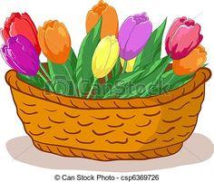 flower basket clip art - Google Search
