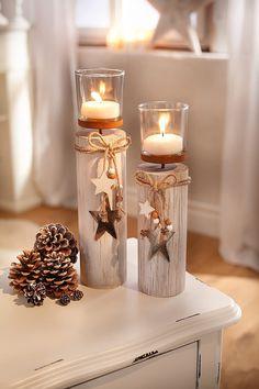 Wooden Decor, Wooden Crafts, Diy And Crafts, Glass Bottle Crafts, Diy Bottle, Rustic Christmas, Christmas Crafts, Christmas Decorations, Wood Slice Crafts