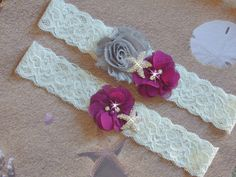 Eggplant and Grey Beach Wedding Garter, Starfish Bridal Garter, Lace Wedding Garter, Destination Wedding Garter, Plum Bridal Accessories by bridalambrosia on Etsy