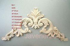 B2--12x12 cm In Legno di Quercia Intagliato Angolo Onlay Applique Non Verniciato Telaio Porta Decal Lavoro carpenter Fiore