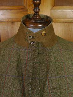 Ghillie collar detail from bespoke tweed suit.