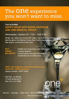 Happy Hour with Diana Antholis and One Medical Group. Join me for a FREE happy hour in #NYC and #booklaunchparty for Unleashed! One Medical Group is sponsoring - you get free wine, beer, and healthy food, PLUS a free one year membership to One Medical - a doctor concierge service. AWESOME! RSVP now!