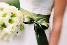 Wedding bouquet... green sash...