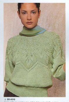 Пуловер кружевным узором с цен  