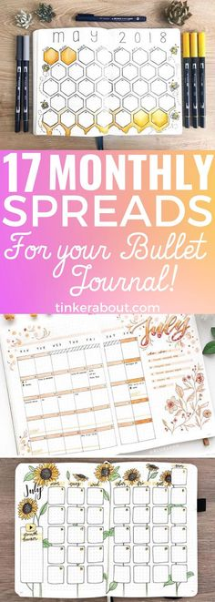 Looking for bullet journal layout ideas for your monthly spread? Click through to see 17 gorgeous monthly spread bullet journal ideas! Bullet journal ideas in. Bullet Journal Banners, Bullet Journal Doodles, Digital Bullet Journal, How To Bullet Journal, Bullet Journal Monthly Spread, Bullet Journal Inspo, My Journal, Journal Pages, Bujo Monthly Spread