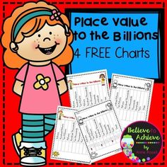 FREE Place Value Charts (4 charts)  This is a set of four of place value charts to the billions! The one in color with the fun numbers would be great to copy on card stock, laminate, and give to students for notebooks as a study sheet! These would be great for second to fifth graders as a visual to use to remember place value to the billions!