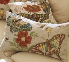 Insect embroidered pillows from Pottery Barn!