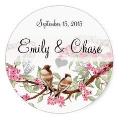 Pink & Gray Vintage Love Birds Wedding Stickers