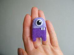 robot monster felt brooch