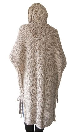 ON SALE NEW Plus Size Maxi Knitting Poncho with Hoodie by afra
