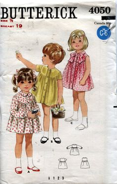 Butterick 4050,  Vintage 1960's Baby Dress Pattern