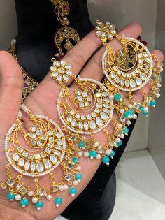 Punjabi Traditional Jewellery, Indian Jewelry, Pearl Earrings, Ship, Pearls, Style, Fashion, Swag, Moda