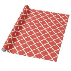 Posh Orange Red Moraccan Quatrefoil Pattern Wrapping Paper - modern gifts cyo gift ideas personalize
