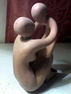 Human Figurative Sculpture by sculptor artist Arsen Alaverdyan titled: 'mother and child' Modern Sculpture, Abstract Sculpture, Wood Sculpture, Art Ancien, Ceramic Figures, Dream Art, Bronze, Objet D'art, Mother And Child