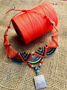 Macrame Hippie Choker Necklace and Bracelet Gypsy Jewelry for Woman Colorful Handmade jewelry set Boho style Collier Collar Bracelet Collar Macrame, Macrame Colar, Macrame Necklace, Micro Macrame, Macrame Jewelry, Macrame Bracelets, Loom Bracelets, Necklace Set, Friendship Bracelets