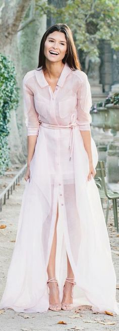 Love this breezy, classic, romantic pink gauze button down belted maxi dress! Perfect look for spring and summer events.