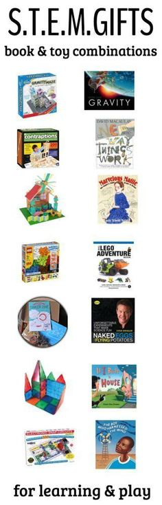 STEM toys and book gifts for kids. Science play ideas!