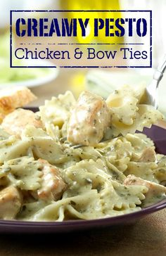 On-hand ingredients like cream of chicken soup, pasta and prepared pesto sauce combine with chicken to make this delicious Creamy Pesto Chicken & Bow Ties dinner. It's ready to enjoy in just 40 minutes too! by alana Pesto Chicken, Cream Of Chicken Soup, Salsa Pesto, Cooking Recipes, Healthy Recipes, Healthy Soup, Meat Recipes, Healthy Meals, Pasta Dishes