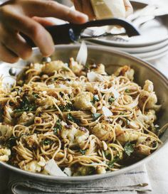 Roasted Cauliflower and Capellini from The Sprouted Kitchen Cookbook-a delicious recipe! Pasta Recipes, Dinner Recipes, Cooking Recipes, I Love Food, Good Food, Vegetarian Recipes, Healthy Recipes, Roasted Cauliflower, Cauliflower Pasta