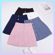 2018 New Women Summer Mini Skirts High Waist Pleated Skirt Single Row of Buckle . Hipster School Outfits, Cute Casual Outfits, Chic Outfits, Fashion Outfits, Cute Skirts, Mini Skirts, Street Style Store, African Dresses For Kids, Stylish Dress Designs