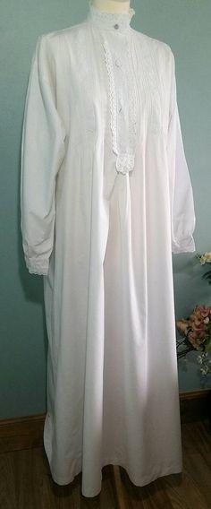 Viktorianisches Nachthemd Langarm weiße Baumwolle mit