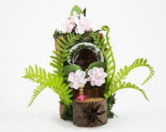 Woodland Fairy Vanity with perfume, Fairy Garden Item, Faerie Decor, Fairy Accessories, Wood Vanity, Fairy Furniture,Mini Vanity,Rustic Deco