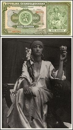 Alphonse Mucha - Photograph study for bank note design c.1919 Pictured alongside Mucha's own black & white photograph of his model sitting for the illustration.