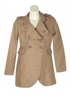 Khaki Expedition Coat $79  http://www.alight.com/last-kiss-khaki-expedition-coat.html  Warm military look coat has metallic buttons at the front and shoulders, two flap hip pockets, and button down lapels.