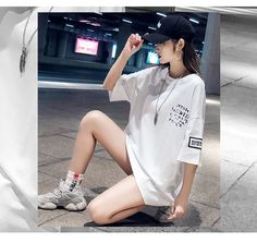 Black And White Tees, Shirt Dress, T Shirt, Female, Cute, Outfits, Dresses, Fashion, Supreme T Shirt