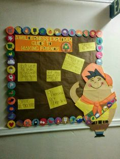One of the first boards I created--'A Wilderness Explorer Guide to Making Friends.' This was for Setember's Up theme. Each of the badges making up the border is made of hand-cut/drawn shapes--my favorite is the marshmallow-roasting badge!