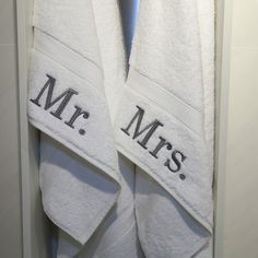 Authentic Hotel and Spa Embroidered 'Mr.' and 'Mrs.' Turkish Cotton Hand Towel (Set of 2)