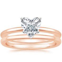 Heart Cut Four-Prong Petite Comfort Fit Wedding Ring Set - 14K Rose Gold