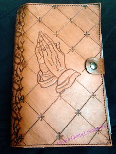 Items similar to Leather Bible/book/journal cover with custom art, hand carved Praying Hands with a geometric design on the spine. Tandy Leather, Tooled Leather, Leather Tooling, Leather Crafts, Leather Projects, Journal Covers, Book Journal, Bible Cases, Leather Carving