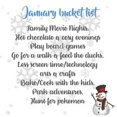 Bucket list for Winter (January!)