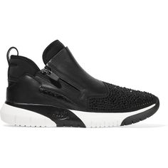 ASH Crystal-embellished neoprene and leather sneakers (565 SAR) ❤ liked on Polyvore featuring shoes, sneakers, black, ash shoes, ash trainers, leather trainers, black leather shoes and black leather trainers