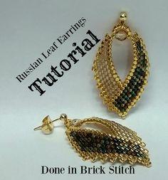 Russian Leaf Earrings TUTORIAL done in brick stitch