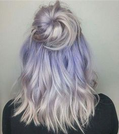 Ice-y periwinkle lorie therrien used MOONCHILD and CLOUD (both diluted) for this… - Hair Style Pale Blonde Hair, Blonde Color, Blonde Hair With Purple Highlights, Color Highlights, Dyed White Hair, Balayage Hair Grey, Ice Blonde, Hair Dye Colors, Cool Hair Color