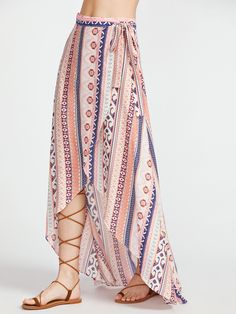 To find out about the Tribal Print High Low Wrap Skirt at SHEIN, part of our latest Skirts ready to shop online today! Bohemian Attire, Bohemian Pants, Bohemian Style, Bohemian Decor, Bohemian Interior, Bohemian Living, Bohemian Jewelry, Tribal Skirts, Boho Skirts