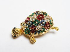 CINER Turtle Brooch, Multi-Color Crystal Floral Pattern Back, Vintage Figural Pin $105.00 ~ Click to see all 16 Figurals!