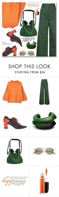 """Emerald City: Pops of Green (Work Wear)"" by jecakns ❤ liked on Polyvore featuring MANGO, Oscar de la Renta, Vanda Jacintho, Gucci, WALL and MAC Cosmetics"