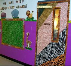 Clutter-Free Classroom: Jungle / Safari Themed Classrooms Cute door: Also website includes ideas for bulletin boards that are jungle themed Animal Print Classroom, Jungle Theme Classroom, Classroom Setup, Kindergarten Classroom, Future Classroom, Classroom Organization, Classroom Helpers, Preschool Teachers, Autism Classroom