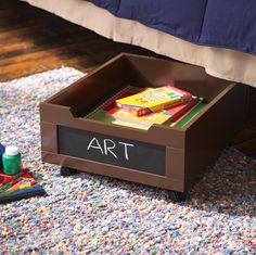 New Year's Resolution # 1: Get Organized! The Homz ™ Underbed Storage designed for children's rooms will help you keep your goal.  Available at most large retailers.