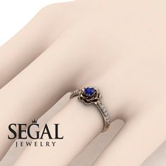 Unique Rose Engagement Ring Diamond ring 14K Red by SegalJewellery