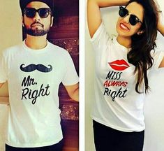 Always Right T-shirts for Couple - Juniba. Mrs Always Right, Mr Right, Couple Tshirts, Deal Today, Cool Shirts, T Shirts For Women, Couples, Stuff To Buy, Tops